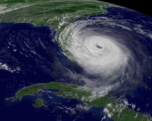 Hurricane Jeanne approaches Florida from the east coast of Florida.